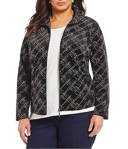 Allison Daley Plus Size Velour Plaid Print Zip Front Jacket