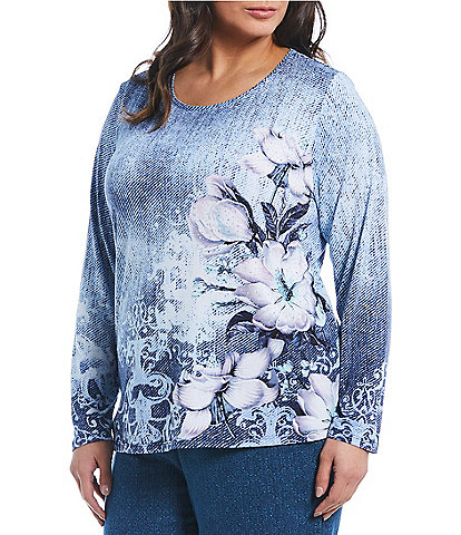Allison Daley Plus Size Wide Crew Neck Floral Print Embellished Top