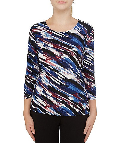Allison Daley Printed 3/4 Sleeve Scoop Neck Texture Jersey Top