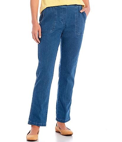 Allison Daley Stretch Denim Straight Leg Pull-On Pants