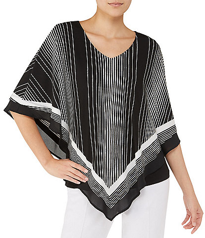 Allison Daley V-Neck Graphic Stripe Print Lined Jersey Poncho Top