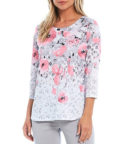 Allison Daley Watercolor Poppy Print 3/4 Sleeve Jewel Neck Top