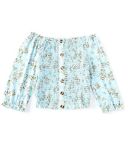 Ally B Big Girls 7-16 Blouson-Sleeve Floral Smocked Top
