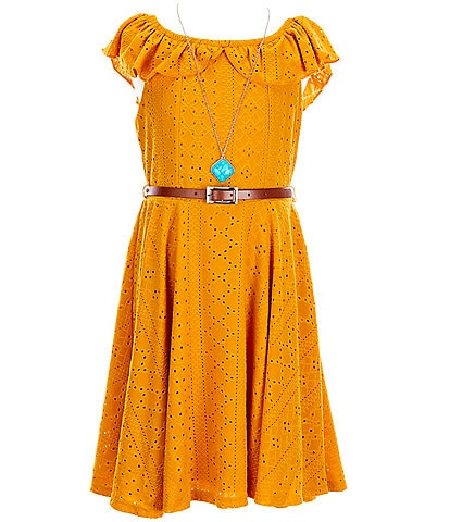 Ally B Big Girls 7-16 Eyelet Fit-And-Flare Belted Dress