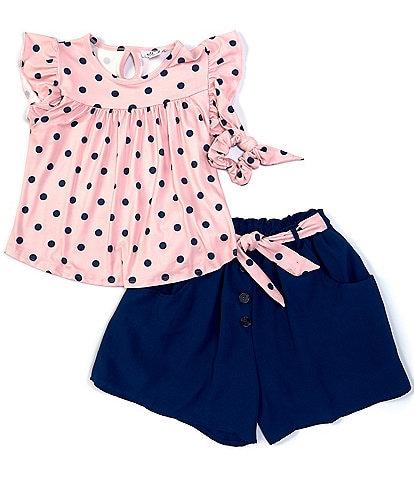 Ally B Big Girls 7-16 Flutter-Sleeve Dotted Top & Shorts Set