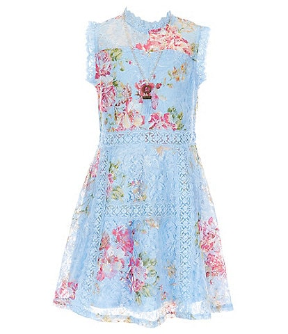 Ally B Big Girls 7-16 Illusion Floral Lace Fit-And-Flare Dress