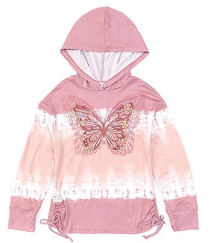 Ally B Big Girls 7-16 Long-Sleeve Butterfly Graphic Tie-Dyed Hooded Top