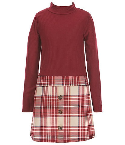 Ally B Big Girls 7-16 Long-Sleeve Mock-Neck Sweater Top With Plaid Skirt
