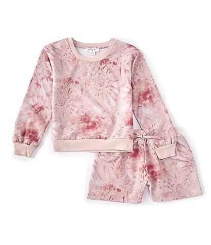 Ally B Big Girls 7-16 Long-Sleeve Tie-Dye Sweatshirt & Shorts Matching Set