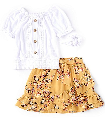 Ally B Big Girls 7-16 Puff-Sleeve Peasant Top & Ditsy Floral Skort Set