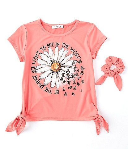 Ally B Big Girls 7-16 Short-Sleeve Be the Change Daisy Side-Knot Tee