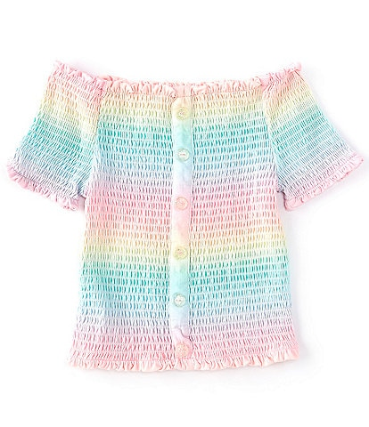Ally B Big Girls 7-16 Short-Sleeve Ombre Rainbow Smocked Top