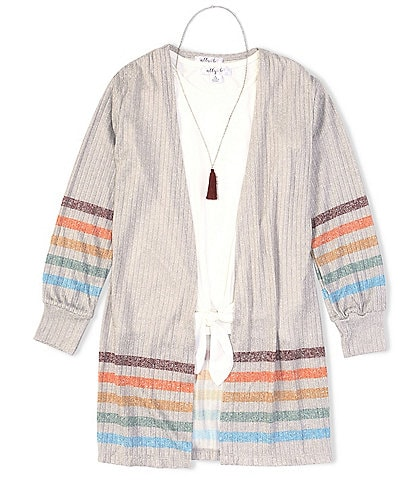 Ally B Big Girls 7-16 Short-Sleeve Tie-Front Knit Tee & Striped Duster Set