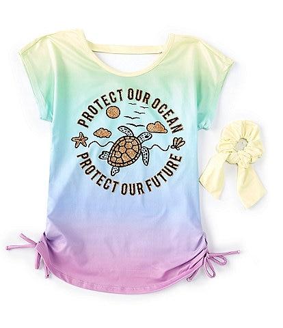 Ally B Big Girls 7-16 Short-Sleeve Turtle Ombre Cinch-Side Tee