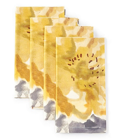 Aman Imports Floral Watercolor Napkins, Set of 4