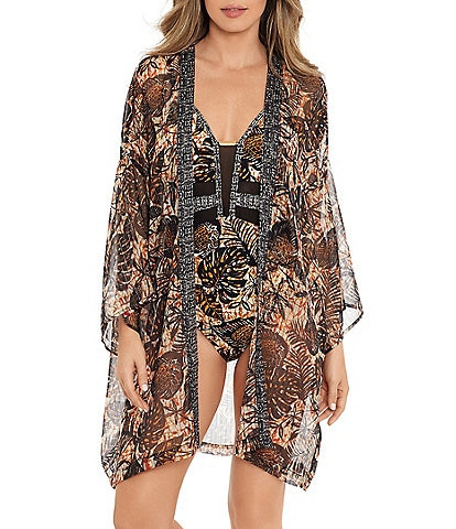 Amoressa by Miraclesuit Dijon Sriracha Kimono Swim Cover Up