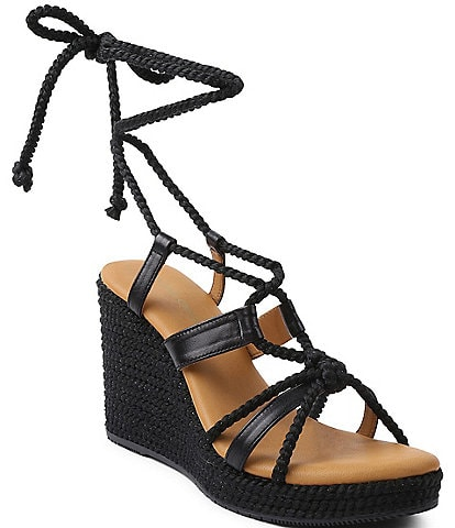 Andre Assous Ash Leather Braided Silk Rope Platform Wedge Sandals