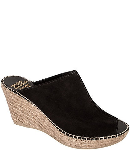 Andre Assous Cici Suede Esparille Wedge Mules
