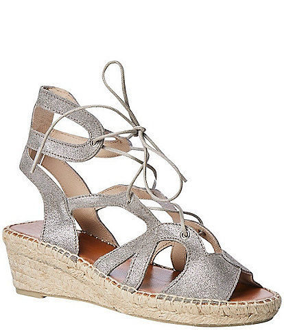 Andre Assous Deanna Suede Espadrille Lace Up Gladiator Sandals