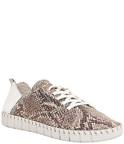 Andre Assous Iris Snake Print Leather Sneakers