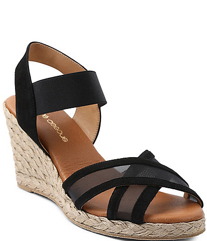 Andre Assous Lucia Suede Mesh Espadrille Wedge Sandals