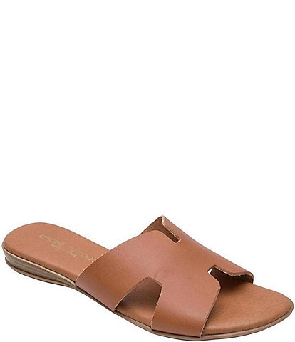 Andre Assous Nadenka Leather H Strap Slide Sandals