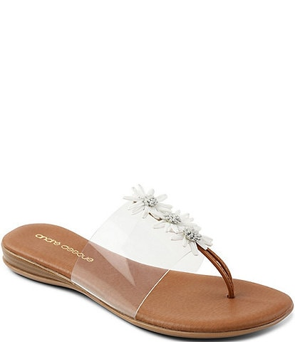 Andre Assous Nadine Raffia Flowers Clear Thong Sandals