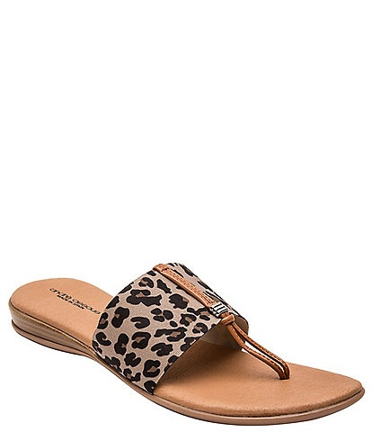 Andre Assous Nice Leopard Slide On Thong Sandals
