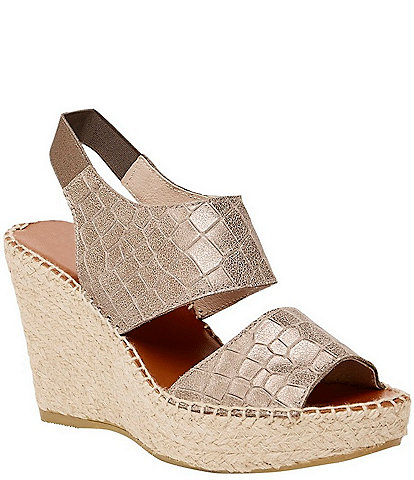 Andre Assous Reese Croc Embossed Leather Espadrille Platform Wedge Sandals