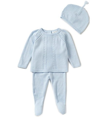 Angel Dear Baby Boys Newborn Long-Sleeve Sweater, Footed Pants, & Hat 3-Piece Layette Set