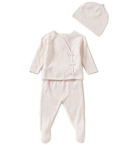 Angel Dear Baby Girls Newborn Long-Sleeve Knit Shirt, Footed Pants, & Hat 3-Piece Layette Set