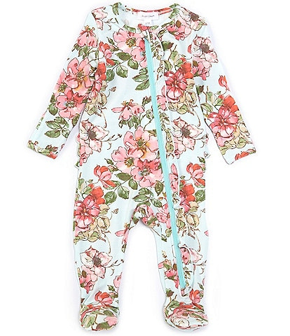Angel Dear Baby Girls Newborn-9 Months Long-Sleeve Wood Rose Ruffle Footed Coverall