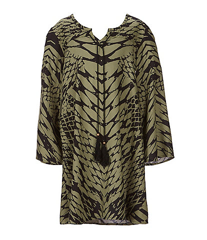 Angie Big Girls 7-14 Bell-Sleeve Snake Print Shift Dress