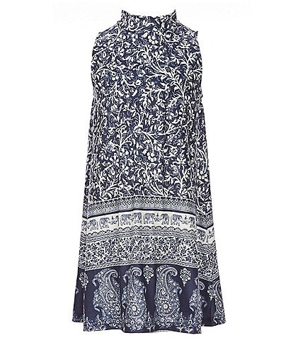 Angie Big Girls 7-14 Mockneck Border-Print Knit A-Line Dress