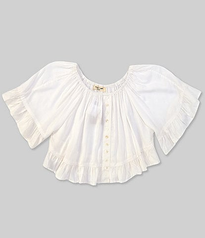 Angie Big Girls 7-14 Short-Sleeve Faux-Button Top