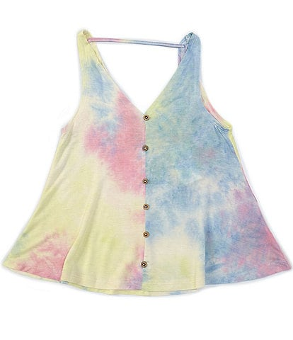 Angie Big Girls 7-14 Tie-Dye Faux-Button-Front Tank Top