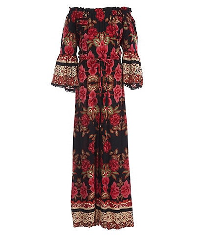 Angie Big Girls 7-16 Bell-Sleeve Floral/Border-Print Jumpsuit