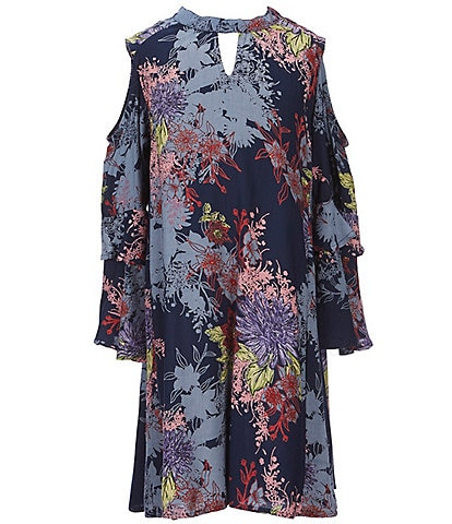 Angie Big Girls 7-16 Floral Print Tiered Sleeve Dress
