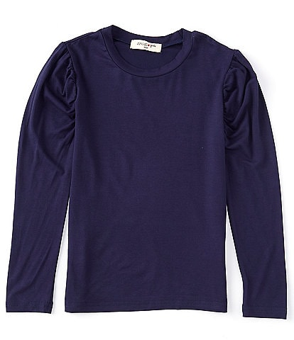 Angie Big Girls 7-16 Long Sleeve Ruched Shoulder Tee