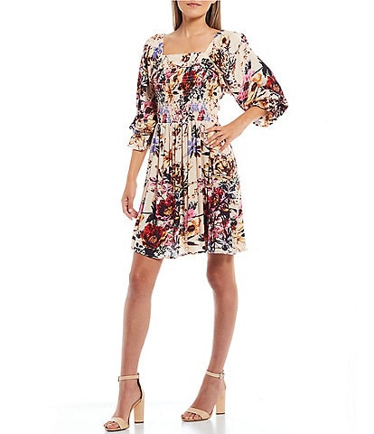 Angie Floral Print Long Sleeve Smocked Dress