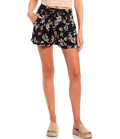 Angie Floral Rolled Cuff Hem Woven Shorts
