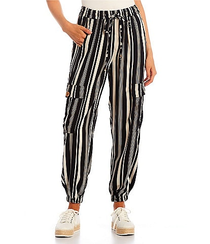 Angie High Rise Stripe Cargo Jogger Pants