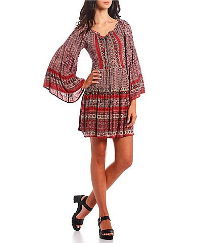 Angie Mixed Print Bell Sleeve Tiered Dress