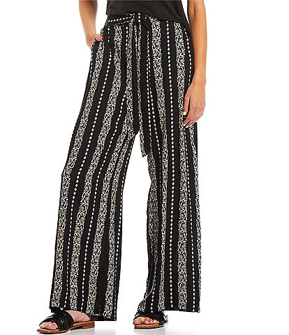 Angie Printed Tie Front Wide Leg Palazzo Pants