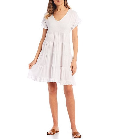 Angie Short Sleeve Tiered Babydoll Dress