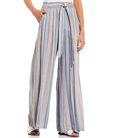 Angie Stripe Tie Front Wide Leg Palazzo Pants