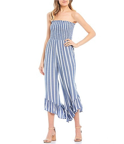 Angie Striped Strapless Smocked Bodice Ruffled Hem Jumpsuit