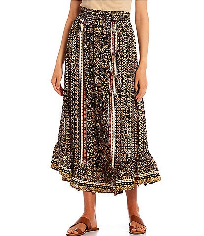 Angie Twin Print Ruffled Hem Maxi Skirt