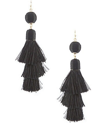Anna & Ava Black Tiered Tassel Earrings