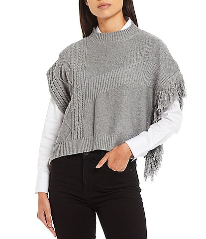 Anna & Ava Cable Knit Fringed Poncho